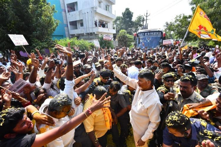 Video Tension at Vizag airport as YSRCP workers protest Chandrababu Naidus visit