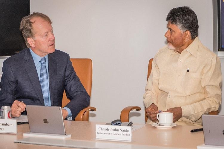 Andhra CM Naidu meets Cisco CEO company to work with state to make small business easy