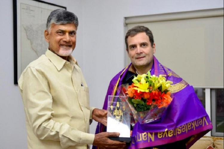 Anti-BJP Front Andhra CM Naidu meets Rahul Gandhi asks more parties to join hands