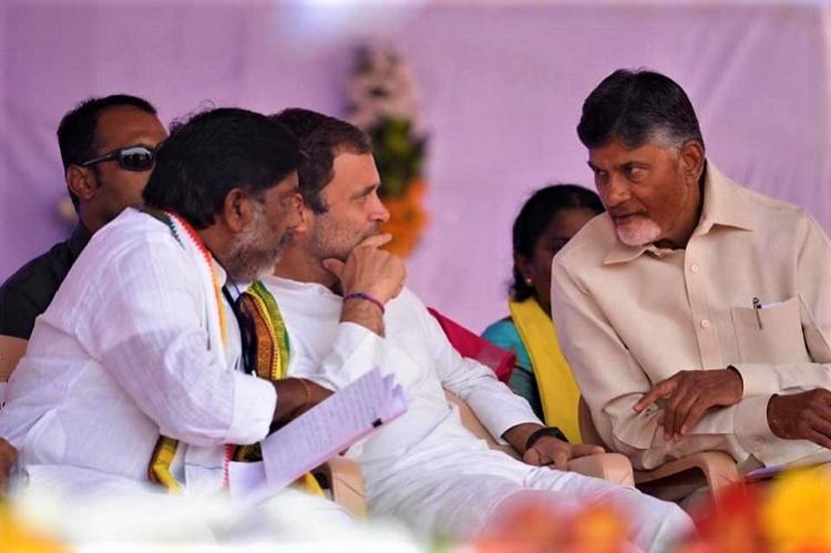 TDP-Cong alliance a historical need Naidu and Rahul Gandhi share stage in Telangana