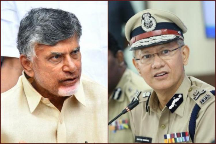 TDP chief Chandrababu Naidu and Andhra Pradesh DGP Gautam Sawang