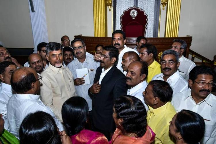 Naidu bids emotional farewell to Assembly buildings in Hyderabad