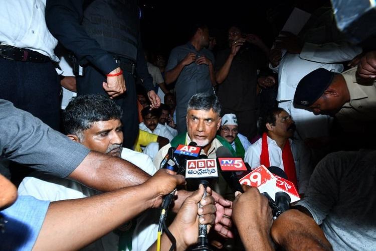 Andhra capital row Chandrababu Naidu detained in Vijayawada amid high drama
