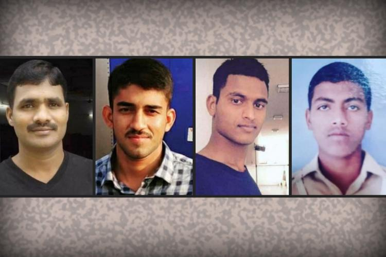 Naik Praveen Ashutosh Kumar Raday Maheshwar and Constable Sudip who were killed in action at LoC Machil