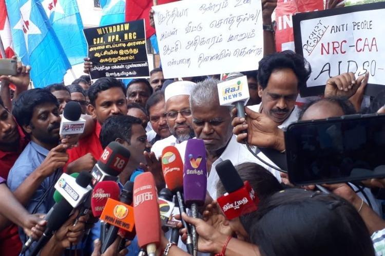 Anti-CAA protest CPI-M does rail roko at Chennai Central railway station