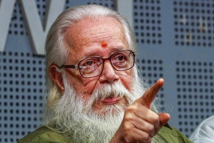 Nambi Narayanan Kerala Scientist who was falsely framed in the ISRO Spy Case pointing his middle flinger