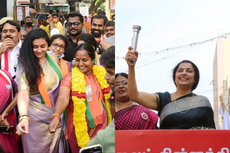 Collage of Namitha with Vanathi and Suhasini Maniratnam holding a torch