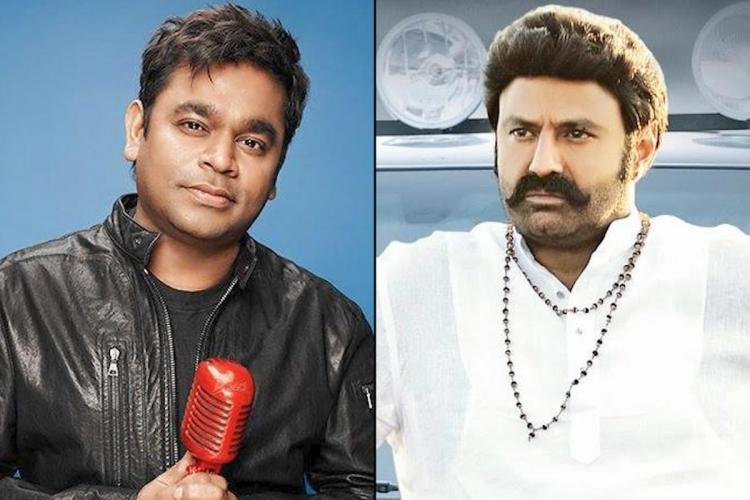 Music composer AR Rahman on the left and actor Nandamuri Balakrishna on the right.