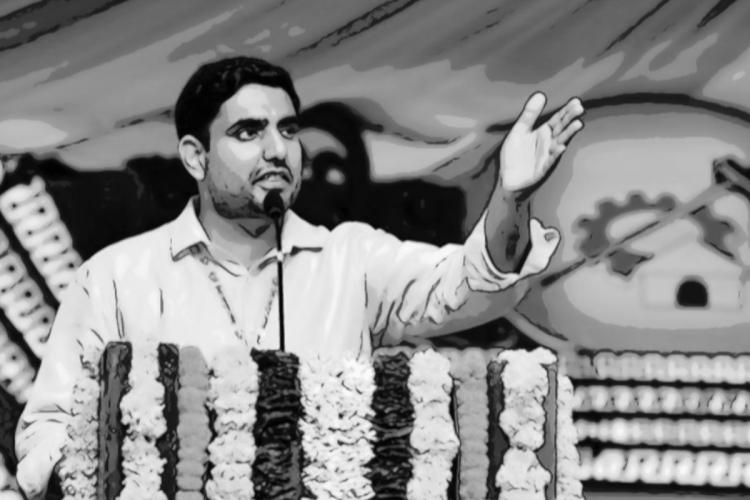 Nara Lokesh standing at a podium with his left hand outstretched while addressing a gathering