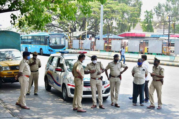 Personnel of Bengaluru Police on duty