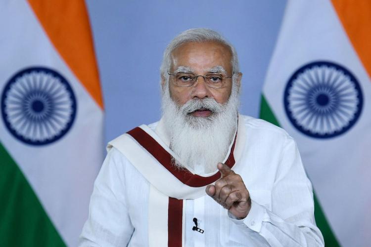 Prime Minister Narendra Modi addresses the nation wearing a white kurta