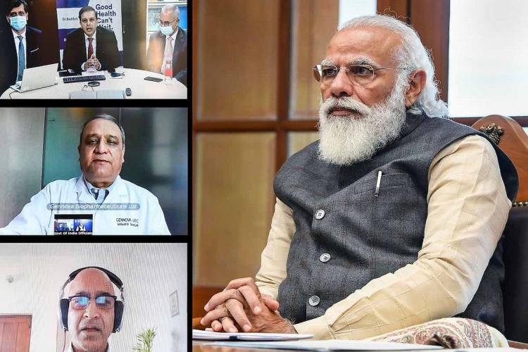 Prime Minister Narendra Modi holds virtual meetings with three teams working on developing manufacturing vaccine for COVID-19 in New Delhi Monday Nov 30 2020