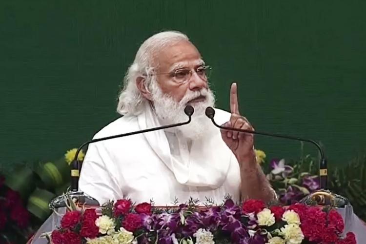 Prime Minister Narendra Modi on dias