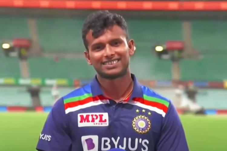 Thangarasu Natarajan smiling on camera after T20 series win against Australia