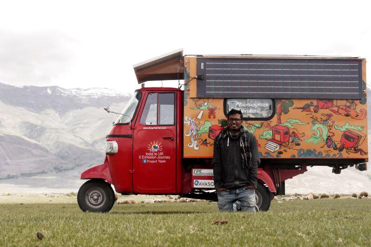 Meet the man who travelled from India to London in a solar-powered auto