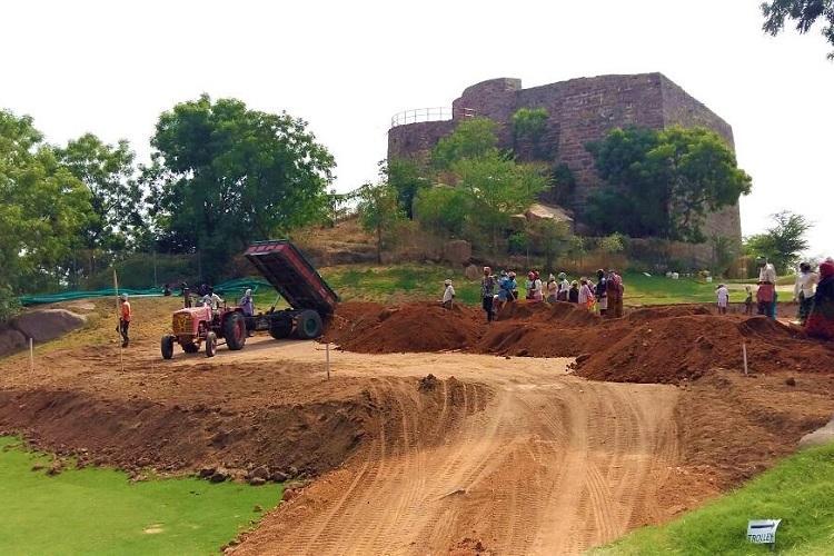 Golf course in Hyds Naya Qila using heavy machinery destroying history Activists