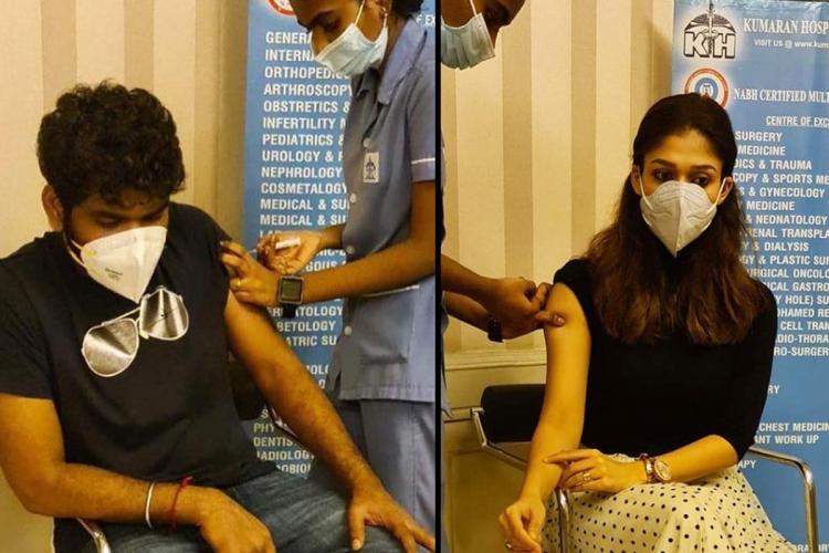 Nayanthara and Vignesh Shivan getting vaccine shot