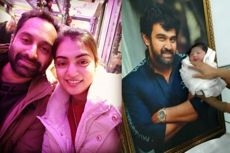 On the left side is a picture of Fahadh and Nazriya standing close to each other in their coats for a selfie and on the right side is the baby held close to a photo of Chiranjeevi Sarja