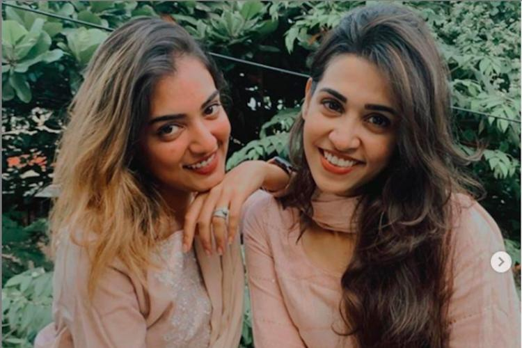 Nazriya and Aleena in skin coloured salwar kameez