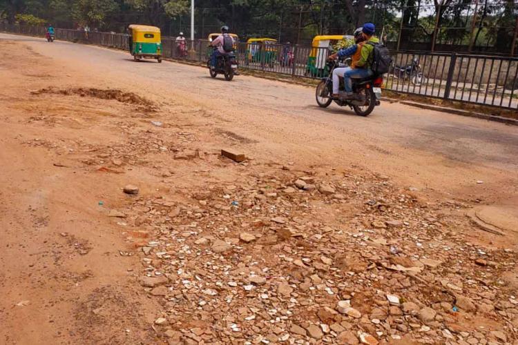 Damaged road near Ulsoor lake in Bengaluru