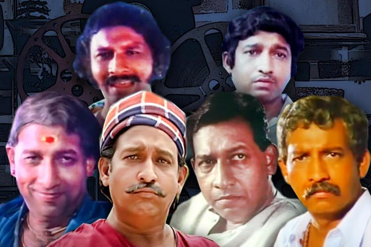 A collage of different characters played by Nedumudi - as the old man in His Highness, as one wearing a towel on his head, as a young man and so on against a dark background