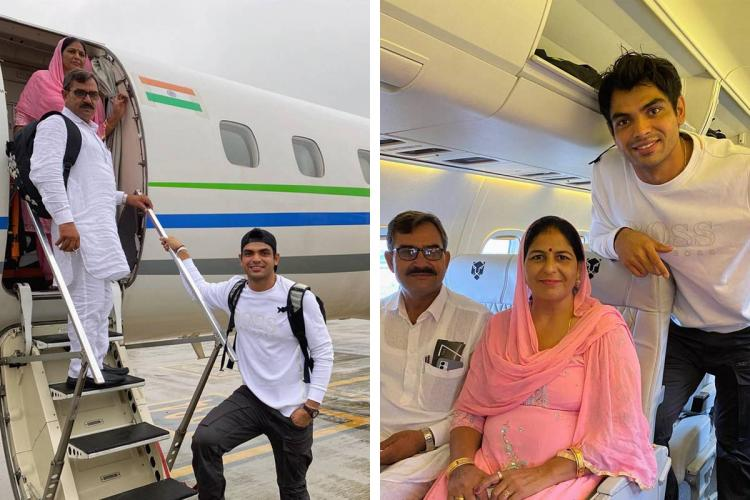 Neeraj Chopra posing with his parents on their first flight