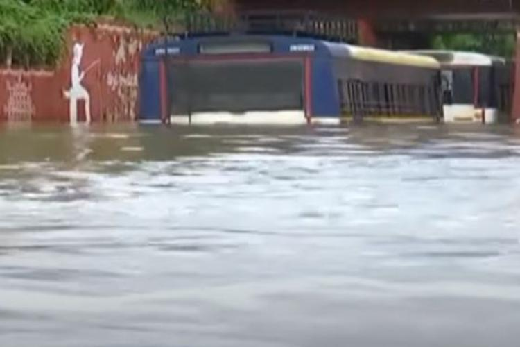 RTC Buses submerged in stagnated water in Nellore