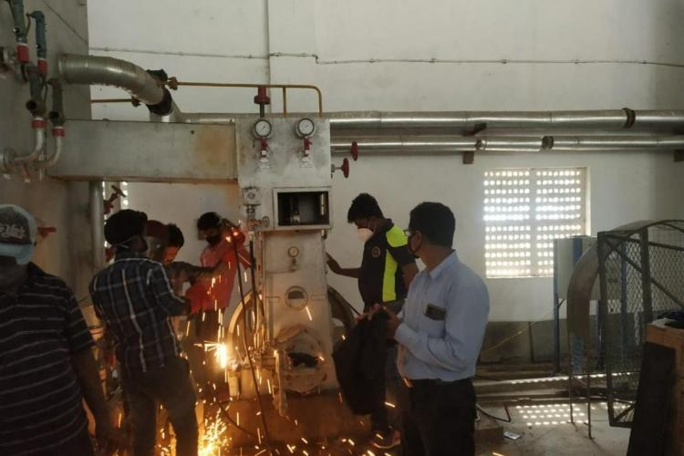 A defunct oxygen plant being fixed in Nellore by Navy officers from Vizag