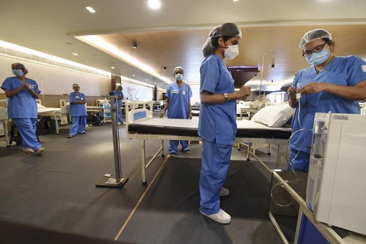 Hospital staff at an isolation ward
