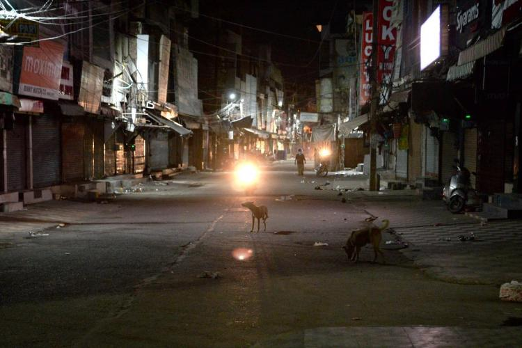 A deserted market in Jalandhar during night curfew to curb the spread of Coronavirus
