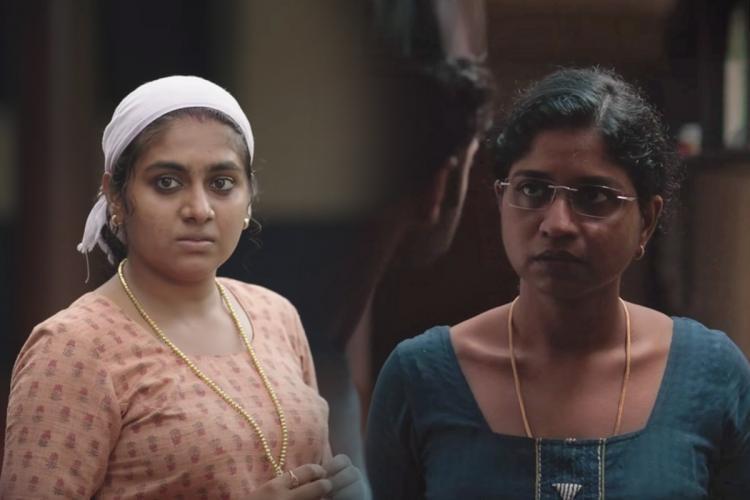 Collage of Nimisha Sajayan with a towel around her head and Unnimaya Prasad in a blue kurta
