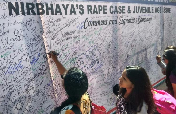 We are against release of Nirbhayas rapist Students from Bengaluru sign in solidarity