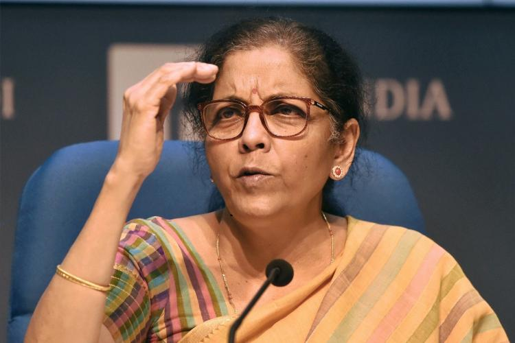 FM Nirmala Sitharaman addressing a press conference on details of the relief package