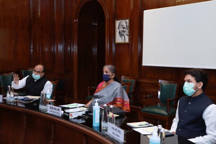 FM Nirmala Sitharaman at GST Council meeting on Monday