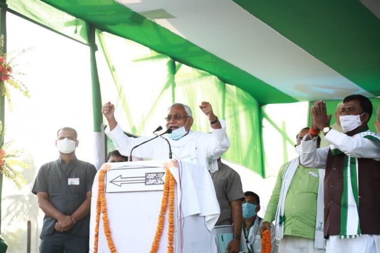 Nitish Kumar at an election rally on Nov 4