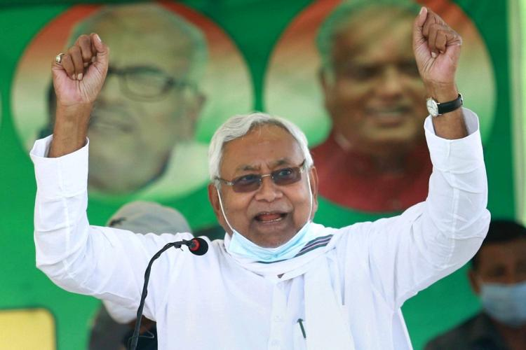 Bihar Chief Minister Nitish Kumar addresses an election campaign rally in Sheohar