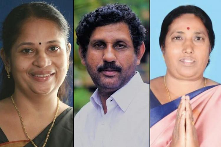 Collage of BJP Candidates for Kerala polls Niveditha Haridas and Dhanalakshmi whose nominations have been rejected