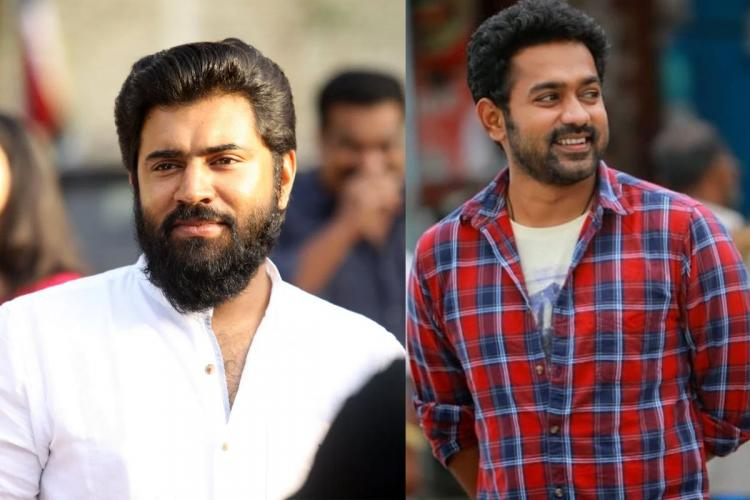 Collage of Nivin in a white shirt and beard and smiling and Asif in a white t shirt and a red and blue check shirt over it with a small beard and smiling