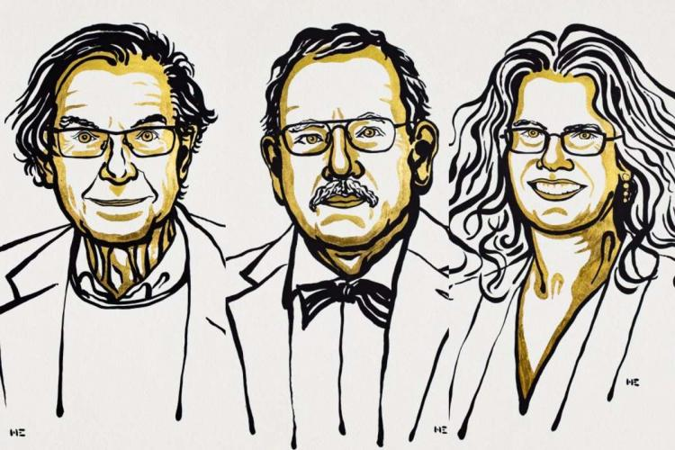 A drawing of Roger Penrose, Reinhard Genzel and Andrea Ghez who are the winners of the 2020 Nobel Prize for Physics
