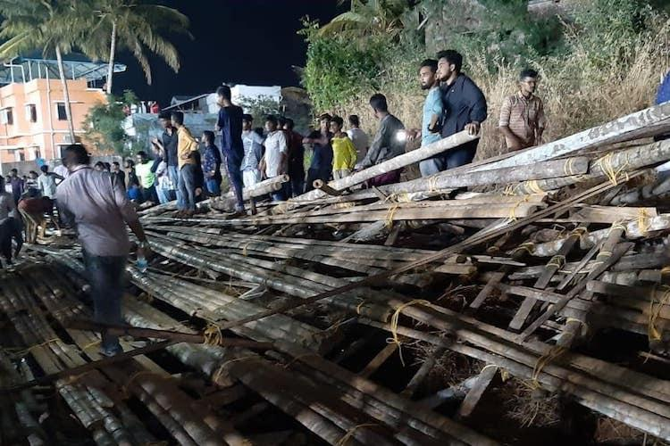 Makeshift football gallery in Palakkad collapses before match 50 injured
