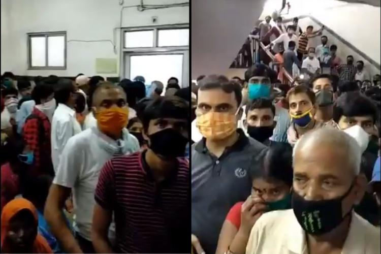 Scores of patients wearing masks huddled outside a OPD