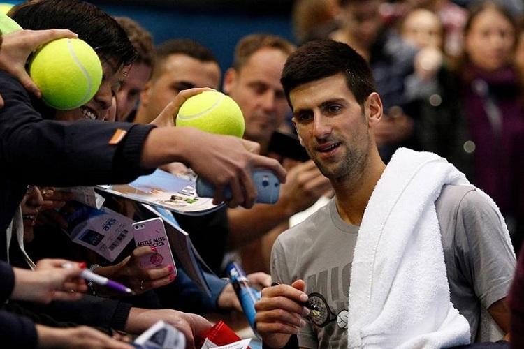 Novak Djokovic with fans