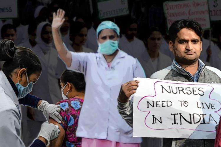 """A posterised image of a nurse protesting with her hand raised and face covered with a mask, a male nurse holding a placard that says """"Nurses need to live in India"""" and another nurse administering injection to a patient."""
