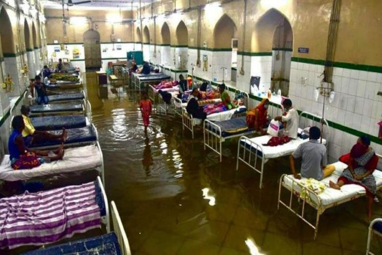 Patients were seen on the beds which were inundated in the rain water in Osmania General Hospital