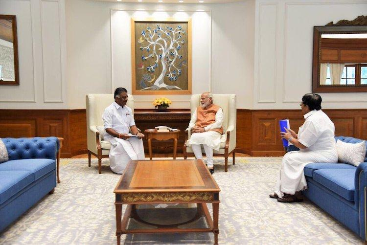 OPS meets PM Modi denies differences with CM Palaniswami