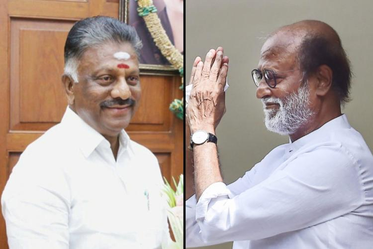 O Panneerselvam and Rajinikanth collage