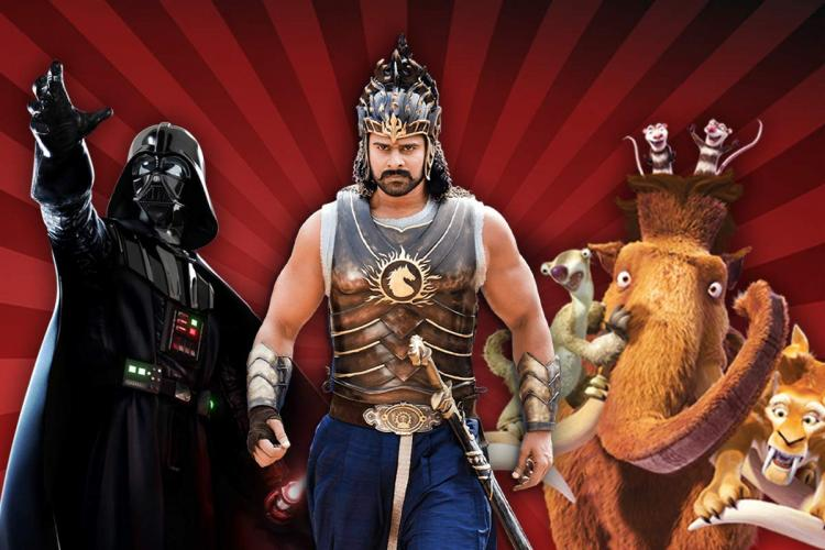 A collage of Prabhas as Baahubali Darth Vader from Star Wars and characters of animated film Ice Age
