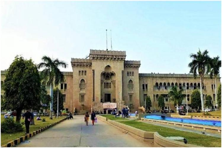 Arts College building in Osmania University in brown colour