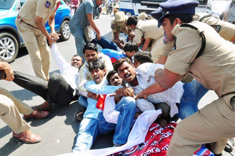 Hyderabad police detain over 700 to foil TJAC protest OU students call for bandh