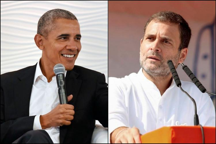 BArack Obama sitting and smiling speaking at an event Rahul Gandhi at a rally